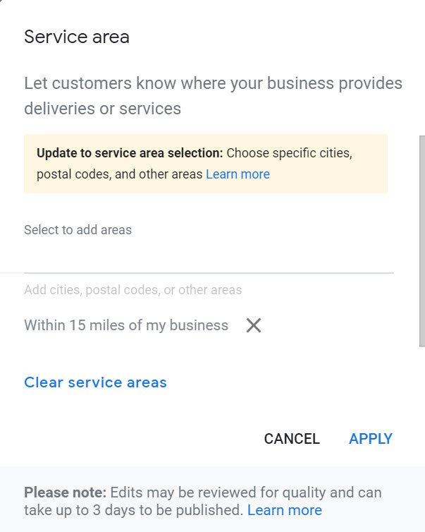 GMB Service Areas Change Settings Local Search
