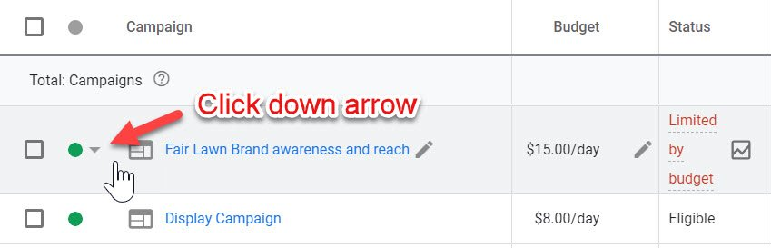 Google Ads Campaigns Click Down Arrow
