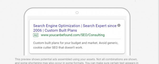 Google Responsive Search Ads Example