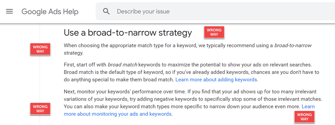 Google Ads Broad to Narrow is Wrong for Small Business