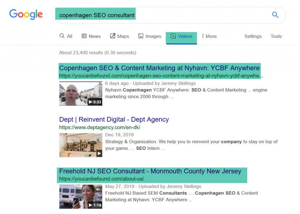 Copenhagen SEO First Page video Google